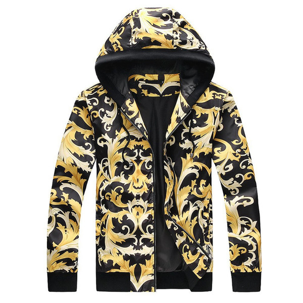 Молодость Популярность Личность Эмблема Украшения мужские Дизайнерские Куртки Черная База Vine Print Роскошные Куртки Мода Trend Ветровка