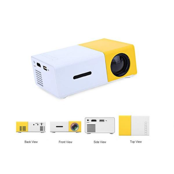 YG300 LED Mini Projector 320x240 Pixels Supports 1080P Portable Projector Home Media Player Built-in Speaker