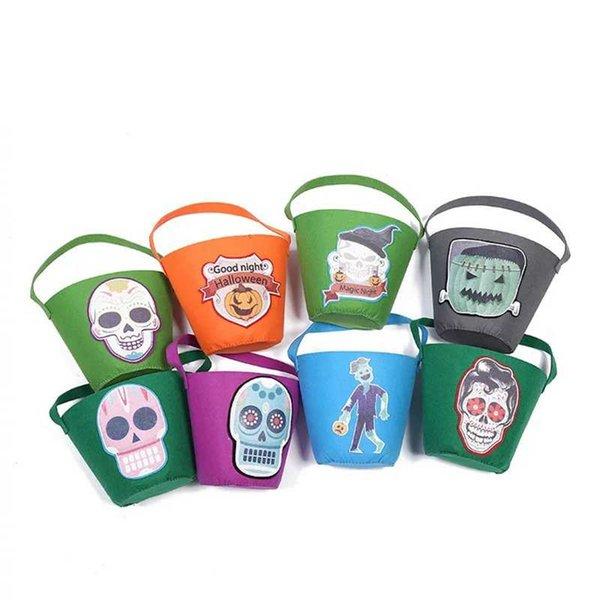 Cesta de Halloween Fiesta de disfraces de calabaza Bolsa de tela no tejida Cráneo estampado Bolsa de almacenamiento niños Bolso de dibujos animados de dulces LJJA2899
