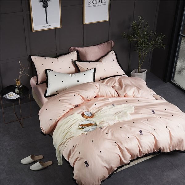 Cats Embroidered Cotton 4Pcs Bedding Sets Fringe Edge King Queen Size Bed Sheet Set Duvet Cover Pillowcases