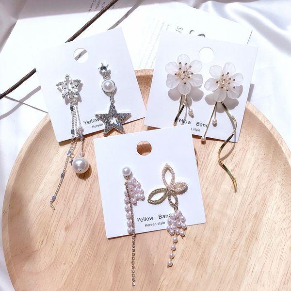 Korea 2019 New Trendy Acrylic White Flower Simulated Pearl Tassel Long Earrings For Women Hollow Star Asymmetric Drop Brincos