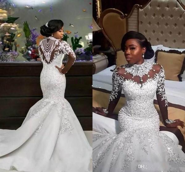 2019 luxe sirène robes de mariée Sheer manches longues col haut Perles train chapelle africaine arabe Robes de mariée grande taille sur mesure