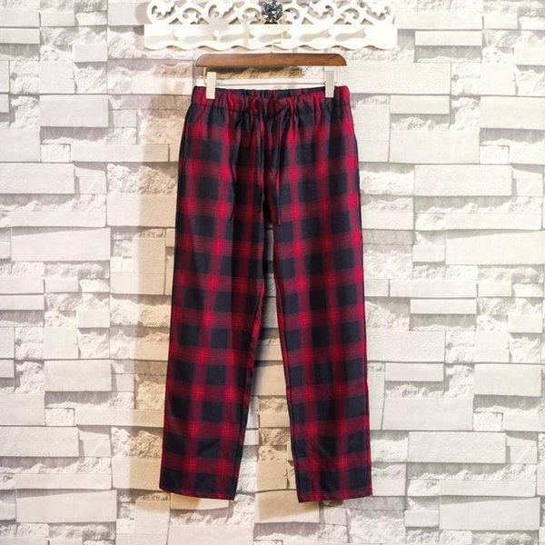 Красный плед брюки