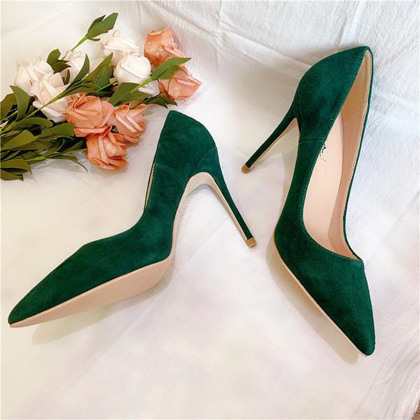 Beiläufige Entwerfer-reizvolle Damemode grüne Velourslederpunktzehe-Absatzpumpe verdünnen Fersen Stilettbraut-Hochzeitsschuhe 12cm 10cm 8cm Marke