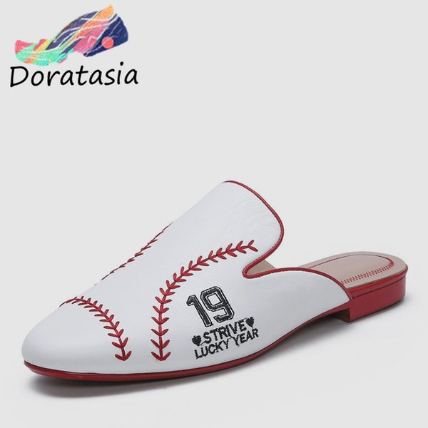 DORATASIA New Brand Design Fashion Whole Genuine Leather Shoes Slippers Women 33-40 Casual Low Heels Women Slides Shoes Woman