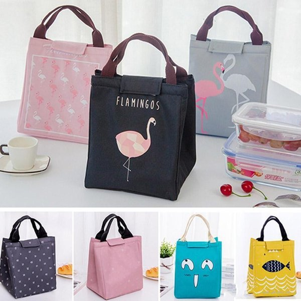 15 Styes Insulated Lunch Boxes Bag Flamingo Bear Fish Cartoon Drawing Picnic Lunch Pouch Bag Baskets With String