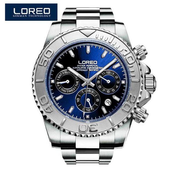 Loreo Men Watches Auto Date Sapphire Watch Sports Stainless Steel Strongest Luminous Waterproof 200m Diver Mechanical Wristwatch J190614