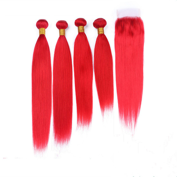 Silky Straight Red Hair Bundles 4Pcs with Free Part Closure 5Pcs Lot Red Colored Brazilian Virgin Human Hair Weaves with 4x4 Lace Closure