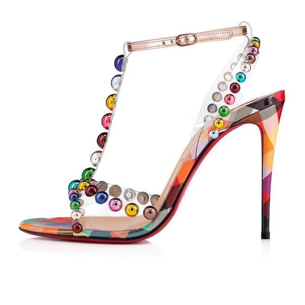 Rhinestone beading women summer sandals open toe color high heel buckle femaleCL fashion cool sandals
