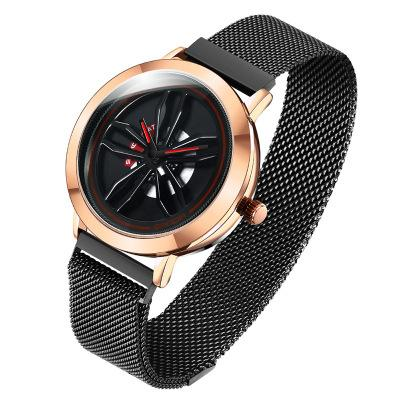 Personality Trend Surface Features Quartz Men's Watch Student Casual Novelty Fashion Wild Waterproof Mesh Belt Watch