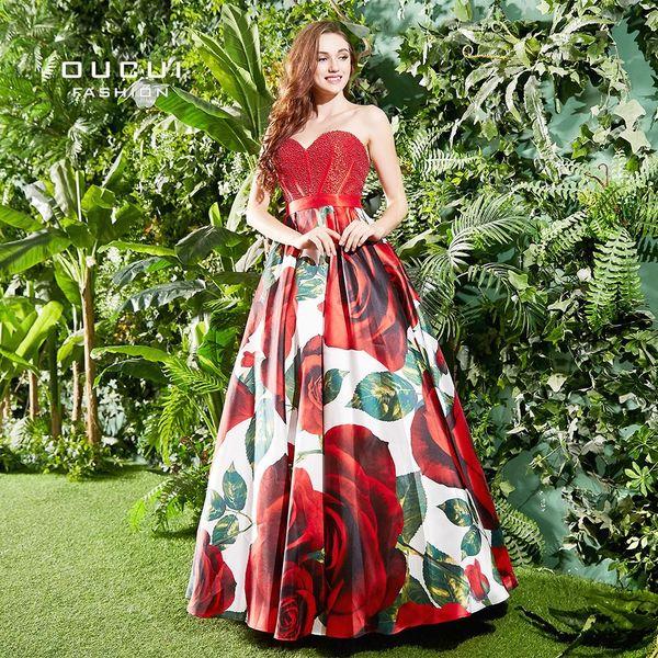 dcbf6e780c76 Sweetheart Strapless Prom Dresses 2019 New Design Floral Print Sexy Flowers  Vestido Plus Size Women Dress