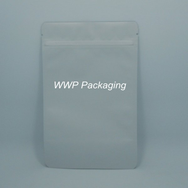 25Pcs/ Lot 15*23cm Doypack Matte White Pure Aluminum Foil Valve Pack Pouch Coffee Storage Stand Up Heat Seal Mylar Zip Lock Bags