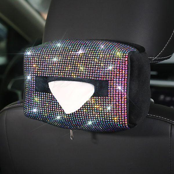 Bunter Kristallauto-Gewebe-Kasten-Halter-Sitzrück Hanging Diamant-Seidenpapier-Fallrhinestone-Kasten-Tasche