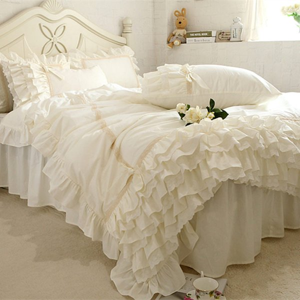 New Embroidery Luxury Bedding Set Beige Lace Cake Layers Ruffle Duvet Cover Quality Fabric Bed Sheet Bedspread Elegant Bed Skirt