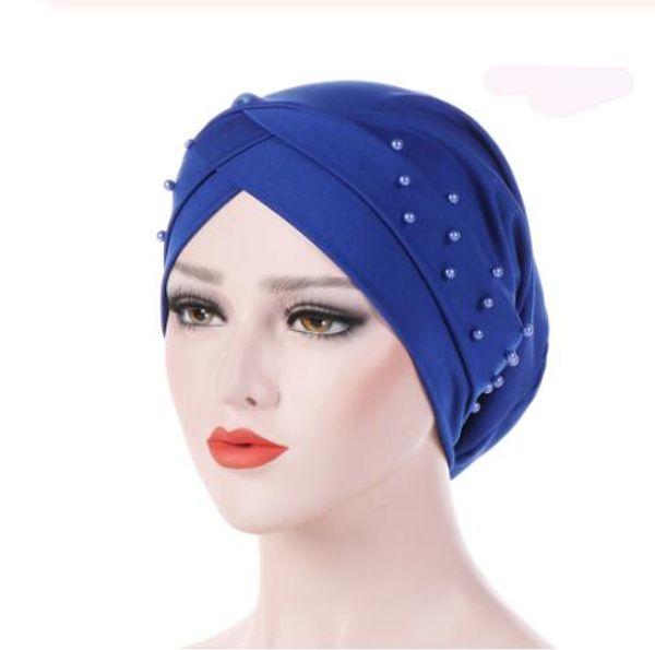 Nuevas mujeres con turbante elástico Sombrero musulmán Hijab Islámico Jersey Beads Chemo Cap Ladies Hijab Stretch Head Wrap Head Scarf GB944