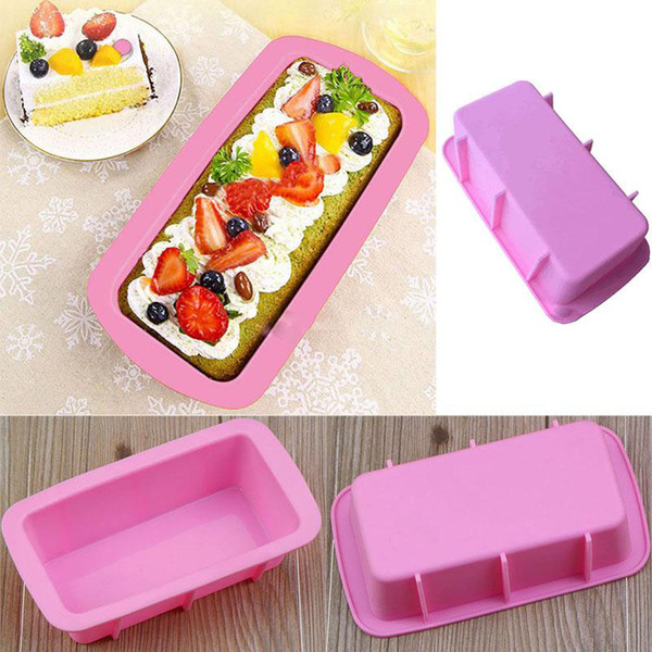 2019 Baking Dishes Silicone Cake Mould Pan Oven Rectangle Mould Silicone Bread Loaf Cake Mold Forms Non Stick