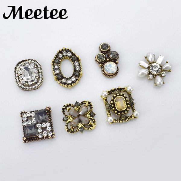 10Pcs Retro Alloy Metal Decorative Rhinestone Buttons For Clothes Crystal DIY Jewelry Bracelet Garment Hairbow Accessories
