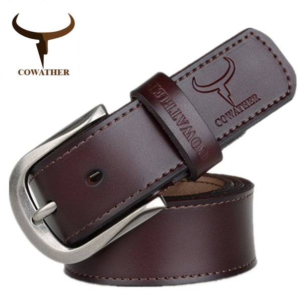 wholesale 2019 fashion pin buckle cow genuine leather mens belt for men three colors male vintage jeans cowskin belts good route