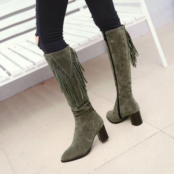 Sıcak Satış-Kadın Flock Kar Boots Kare Yüksek Topuk Diz Yüksek Boots Fermuar Çekici Kış Sıcak Peluş Bayanlar Ayakkabı Bej Yeşil Siyah Sivri