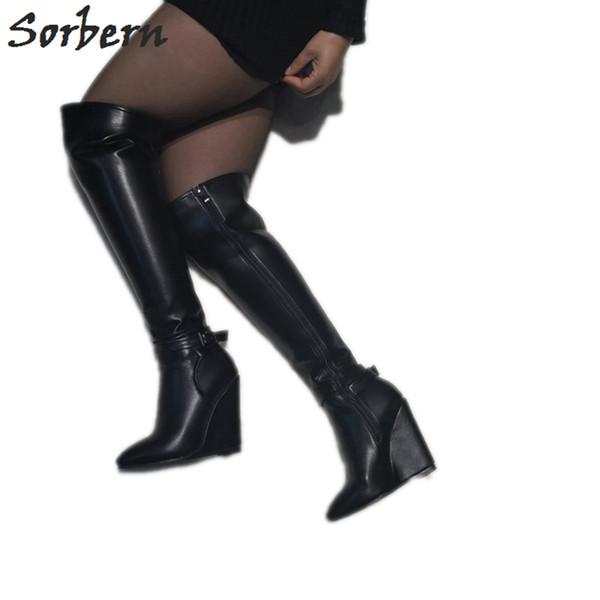 Compre Moda Botas Hasta La Rodilla Botas De Tacón Alto Cuña Con Cremallera Mujer De Talla 11 Zapatos De Mujer Personalizados Ancho Calzado Bota Negro