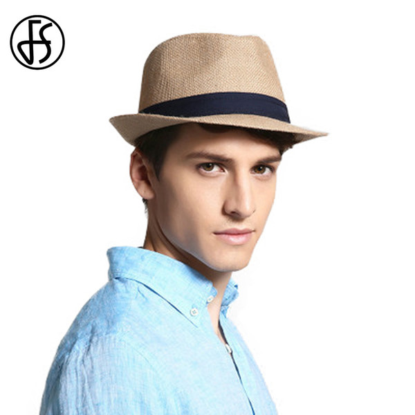 wholesale Summer Blue Yellow Panama Hat Beach Women 100% Linen Fedora Hats For Men Female Sun Straw Caps Fashion Visor Trilby Cap