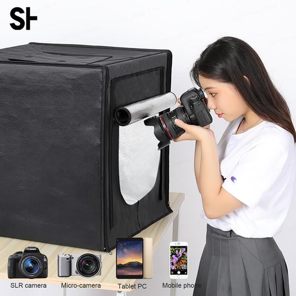 LED Folding Photo Studio Softbox Lightbox 40cm 50cm 60cm 70cm Light Tent With White Black Background Accessories Box Light
