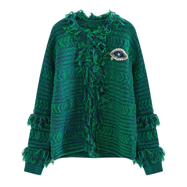 Stylish Women Knitted Cardigans Fashion Diamond Eye Panelled Tassel Design Winter Warm Casual Coat Vogue Lady Outer Sweaters Jacket