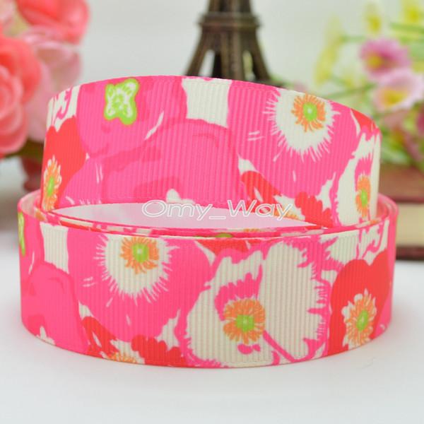 "Lilly Ribbons 7/8"" 22mm Flowers Printed Grosgrain Ribbon Hair Bow DIY Handmade Crafts Ribbon Print 50Yards C-2447"