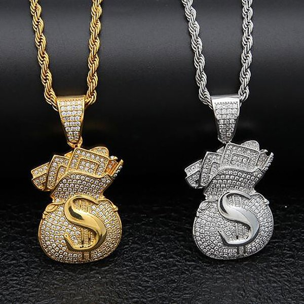 14K Gold Iced Out Dollar Sign Money Bag Pendant Necklace Bling Bling Pendant Mens Hip Hop Micro Pave Cubic Zirconia Simulated Diamonds Jewel