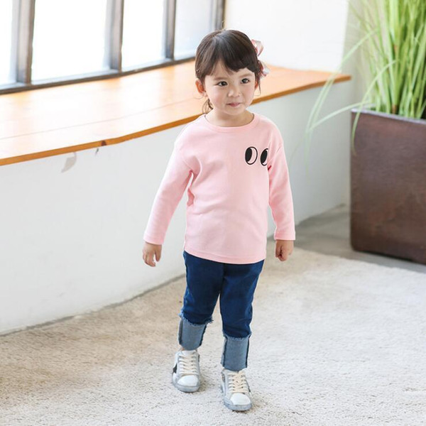 Girls boys autumn t shirts kids casual cartoon printed all match t-shirt baby fashion cotton cute clothes children 2-7 years old
