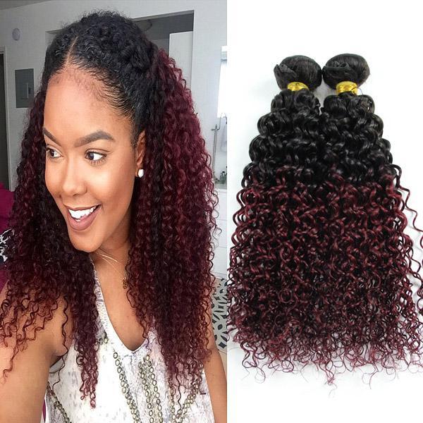 Бразильские пучки вьющихся волос с пучками вьющихся волос Ombre Уток человеческих волос 1b / 99J 3 шт. / Лот 10 '- 30' 'Смешанные длины вьющиеся двухцветные наращенные волосы Ombre