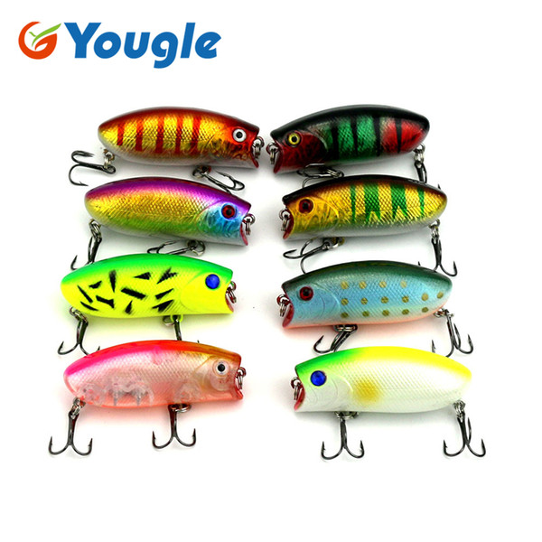 YOUGLE 8 Pcs/lot PO025 Popper Baits Topwater Fishing Lures Bass CrankBaits Tackle 6cm/10.5g