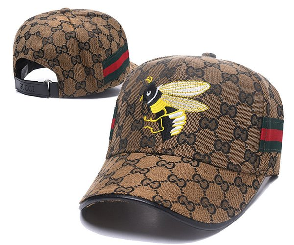 New Men Women Little Bees Printed Casual Adjustable Peaked Cap Baseball Hat Letter G Hot Sale Adults Hats Sports Outdoor Sunny Accessories