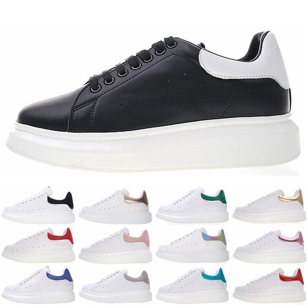 Colorido Lujo 3M Reflexivo zapatillas de deporte de diseñador planas Moda mujer mujer Zapatos casuales Negro Blanco Zapatillas de cuero de primera calidad