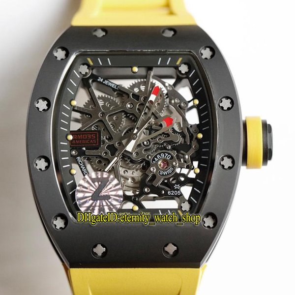 6 Color Top version RM 035 AMERICA5 Y-TZP Ceramic Case Skeleton Dial Japan NH Mechanical RM035 Mens Watch Sapphire Rubber Band Sport Watches
