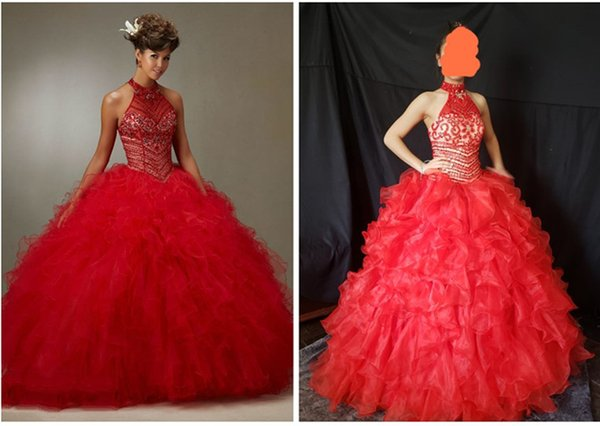 Setwell 2019 Real Pic Sweet 16 Halter Ball Gown Organza Quinceanera Dress Sleeveless Floor Length Puffy Tiered Beaded Prom Gown