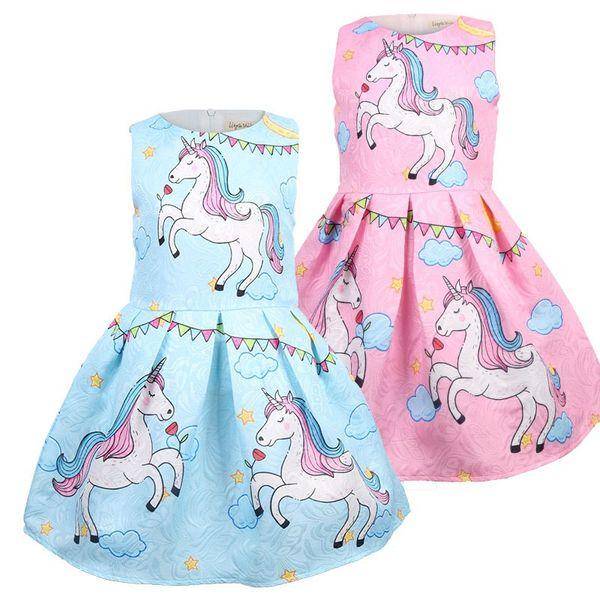 china factory wholesale Girls unicorn dress kids summer frock dress baby girl beach dress child skirt clothes