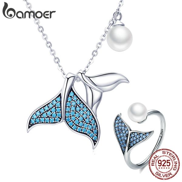 Conjuntos de jóias Sterling Silver Ocean Mermaid's Tail Story Blue Crystal Pingente Colares Ajustável Anel de Dedo Namorada Jóias Finas Presente