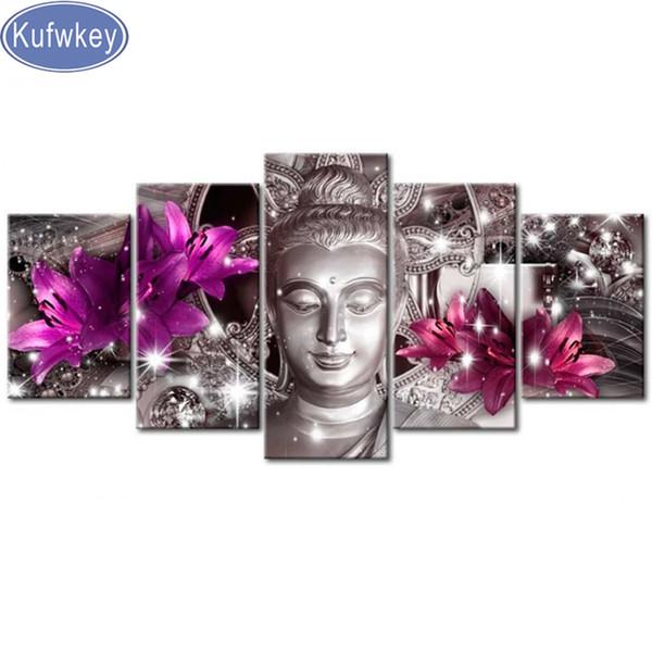 5 pcs diamond embroidery lily buddha diamond painting full square round diamond mosaic cross stitch kits,gift,Multi-pictures