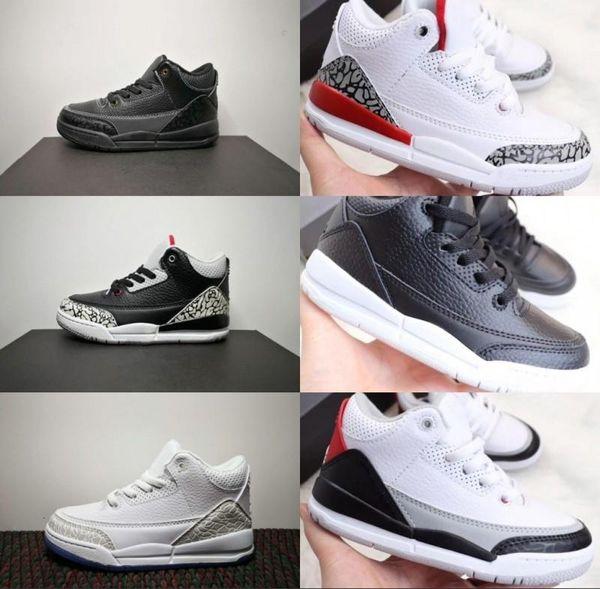 L'alta qualità del progettista scarpe 3 ragazzi giovani Atletica Basket nero Cemento Katrina Moda Sport Casual 3s pattini del capretto III Trainer Sneakers