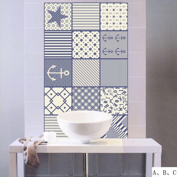 New 3D Mediterranean Style Tile Wall Stickers Kitchen Bathroom Waist Line Sticker Home Decor PVC Wallpaper Waterproof Art Mural