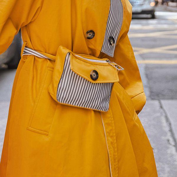 Super Seabob 2019 Nueva Moda de Primavera a rayas diseños originales bolsa botón cubierto Flap bolso de la cintura manija femenina paquete YF20107