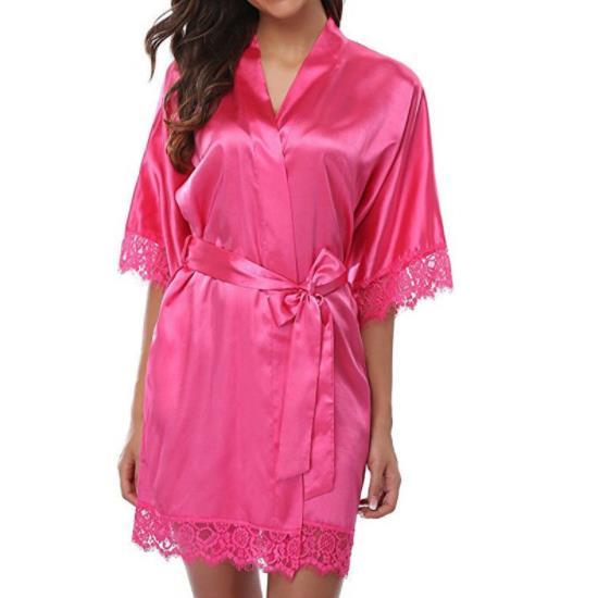 Womens Sexy Solid Color Sleepwear V Neck Half Sleeve Above Knee Robes Fashion Couple Underwear Casual Apparel