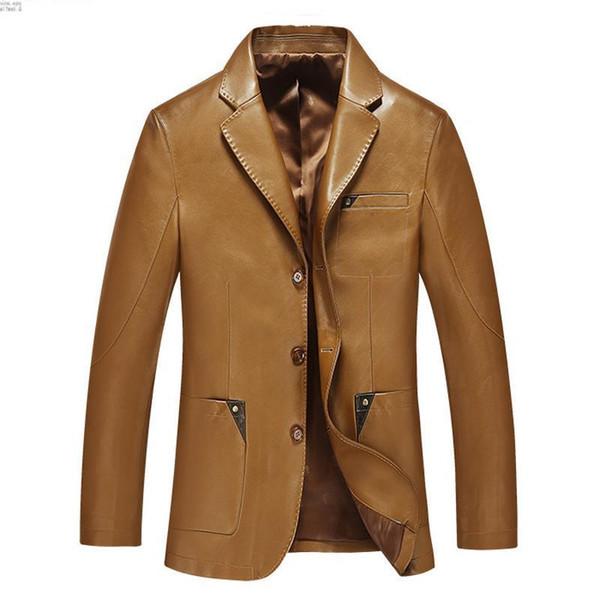 Pop 2019 Men Leather Suit Spring And Autumn Blazer Male Sheepskin Suit Tops Genuine Split Leather Slim Jacket Black Brown Coat