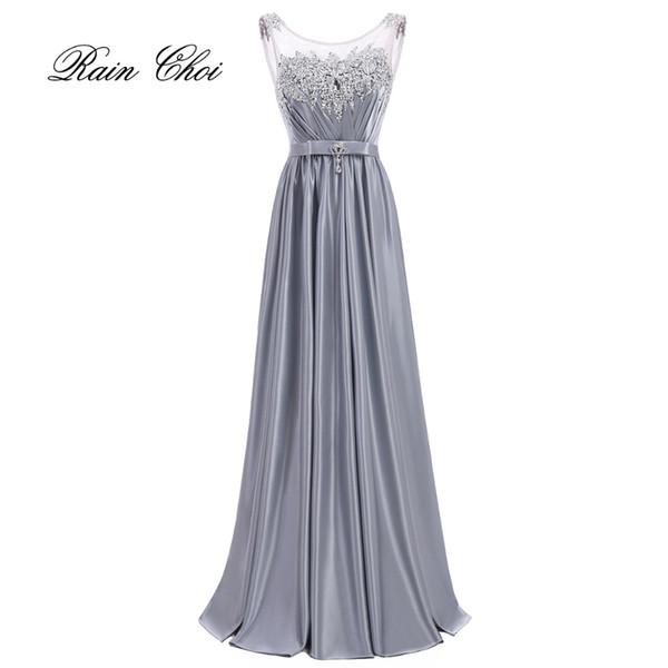 Robe de soirée de mariage élégante robe de demoiselle d'honneur Satin Longue robes de demoiselle d'honneur