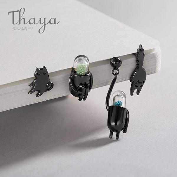 Thaya Fuuny Cat Pill 925 Sterling Silver Stud Cartoon Animal Bijoux Boucle D'oreille Pour Les Femmes Noir-plaqué Pet Mignon Chat Unique T7190613