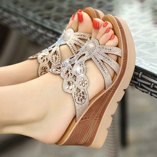 Sandalias de mujer zapatos de verano sandalias de cuña de tacón alto de cristal zapatillas de mujer tacones de 8 cm sandalias de boda para fiesta de gran tamaño femenino