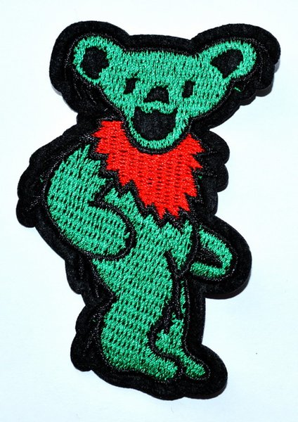 Green GRATEFUL DEAD DANCING BEAR Wild Animal - Zoo - Camping - Embroidered Iron On Patch ( Size is about 6 cm * 8.5 cm )