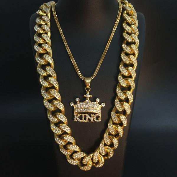 2CM Hip Simbolo cristallo di collana placcata cubana Crown King Croce Collana Miami Roccia Pendant Set di gioielli da uomo maschile Hop