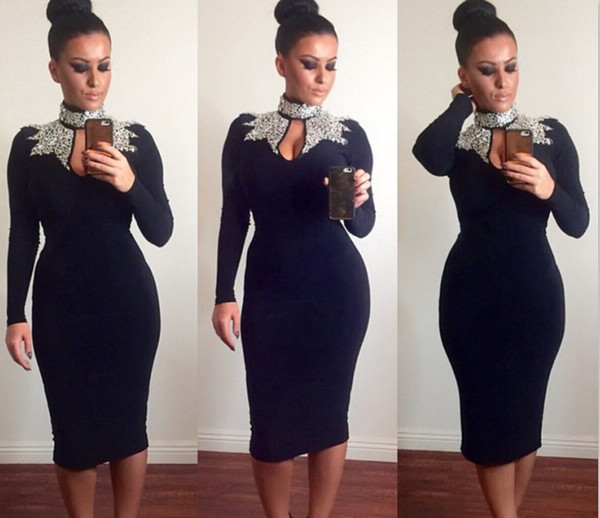 Newest Style Skinny Fit Fashion Bodycon Sexy Short Cocktail Party Dresses for Women Long Sleeve Knee Length Prom Dress